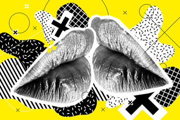 Kissing Halftone Woman Lips On Bright Background