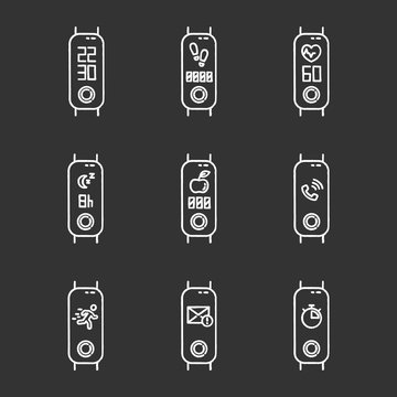 Fitness tracker functions chalk icons set. Active lifestyle accessory for health monitoring. Wellness device with incoming call notification, step counter. Isolated vector chalkboard illustrations