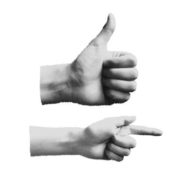 Set Of Halftone Human Hands in different poses