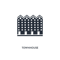 townhouse icon. simple element illustration. isolated trendy filled townhouse icon on white background. can be used for web, mobile, ui.