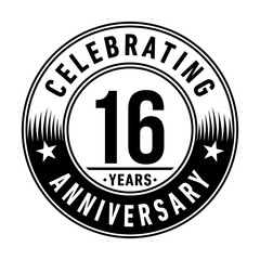 16 years anniversary celebration logo template. Vector and illustration.