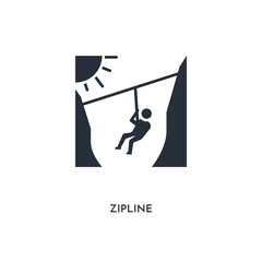 zipline icon. simple element illustration. isolated trendy filled zipline icon on white background. can be used for web, mobile, ui.