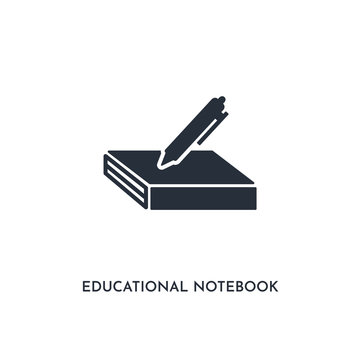 educational notebook icon. simple element illustration. isolated trendy filled educational notebook icon on white background. can be used for web, mobile, ui.
