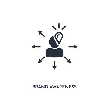brand awareness icon. simple element illustration. isolated trendy filled brand awareness icon on white background. can be used for web, mobile, ui.