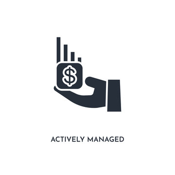 actively managed funds icon. simple element illustration. isolated trendy filled actively managed funds icon on white background. can be used for web, mobile, ui.