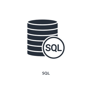 sql icon. simple element illustration. isolated trendy filled sql icon on white background. can be used for web, mobile, ui.