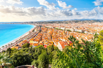 Foto op Canvas Nice View overlooking Old View Nice France, the Bay of Angels, Promenade and beaches on the French Riviera in Summer.