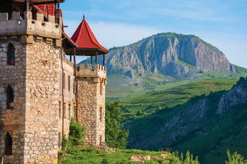 """hotel castle """"The Temple of the Knights"""". authentic place for the rest. located in the beautiful gorge of trascau mountains. facade view"""