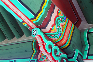 Close up of the roof of a pagoda in Seoul