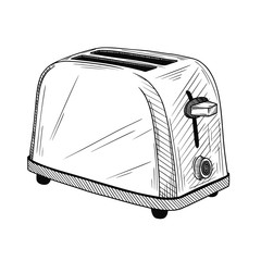 Sketch toaster on a white background. Vector illustration