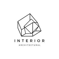 Interior architectural fourth dimension logo vector icon illustration