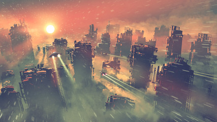 Zelfklevend Fotobehang Grandfailure post apocalypse scenery showing of spaceships flying above abandoned skyscrapers, digital art style, illustration painting
