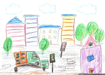 Child drawing of the buildings and cars.