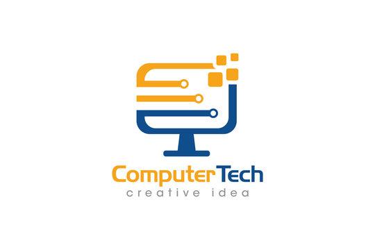 Creative Computer Concept Logo Design Template