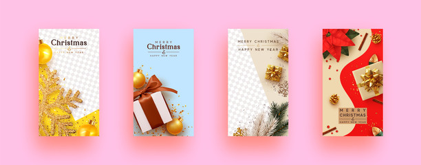 Merry Christmas and Happy New Year. Set Festive template covers, social media story, social networks. Greeting card, Xmas banner, web poster. Realistic decorative design elements. Space for text.