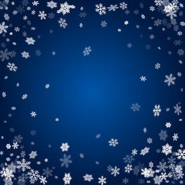 Holiday card frame with many snowflakes confetti, snow elements. Frosty season symbols.