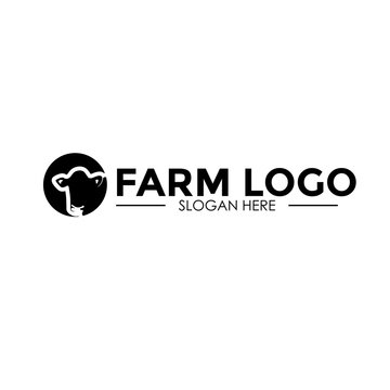 Cow Cattle, farm logo design vector