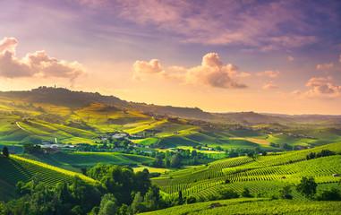Door stickers Lavender Langhe vineyards view, Barolo and La Morra, Piedmont, Italy Europe.