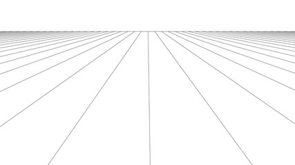 Vector perspective grid. Grid of longitudinal lines. Detailed lines on white background. Fotobehang