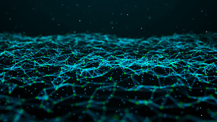 Papiers peints Abstract wave Data technology futuristic illustration. Wave of bright particles. Technological 3D landscape. Big data visualization. Network of dots connected by lines. Abstract digital background. 3d rendering.