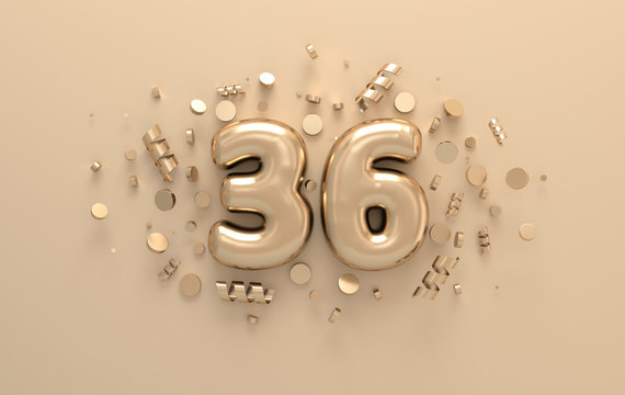 Golden 3d number 36 with festive confetti and spiral ribbons. Poster template for celebrating 36 anniversary event party. 3d render