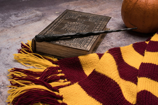 Subjects of the school of magic. Scarf, magic wand, book of spells, pumpkin