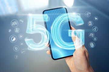 5G network wireless High speed connection. New 5th generation of internet for online gaming, downloading, watching 4K movies on mobile devices concept - Image