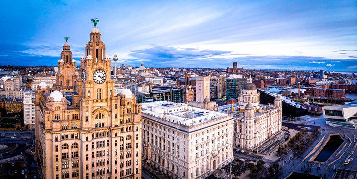 Aerial view of Royal Liver Building, England