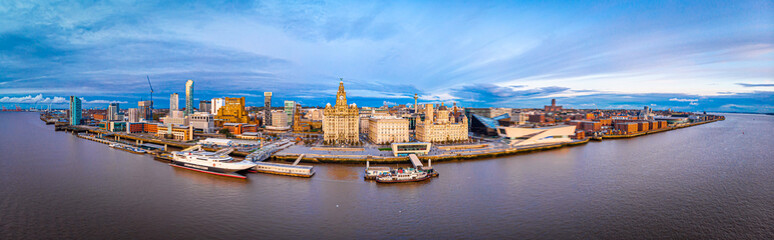 Panorama of Liverpool waterfront in the evening, Liverpool Wall mural