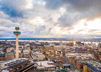 Aerial view of Radio city tower in Liverpool, England