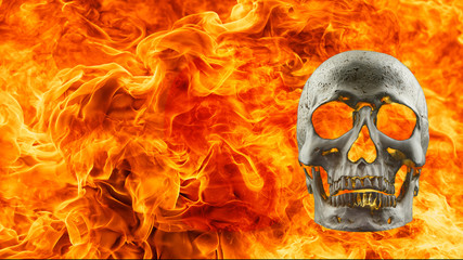 background human skull in fire flame