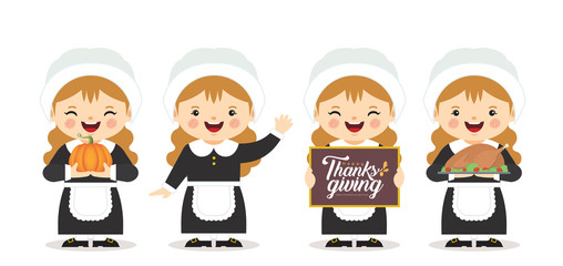 Set of cartoon cute pilgrim girl with pumpkin, roasted turkey & thanksgiving sign isolated on white background. Thanksgiving celebration character in flat vector illustration.