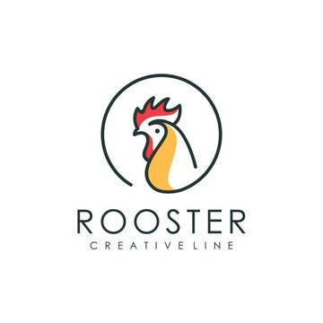 Rooster style logo line, illustration of animal shape with outline style
