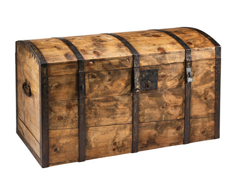 Old wooden chest with clipping path.