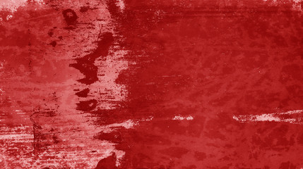 red grunge background texture in old distressed vintage paper design with white scratched peeling paint and rust stains