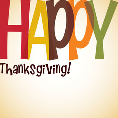 Bright typographic Thanksgiving card in vector format.