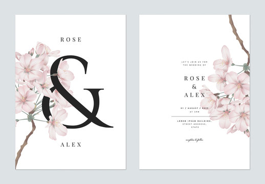 Floral wedding invitation card template design, Somei Yoshino sakura flowers with ampersand lettering on white, pastel vintage theme