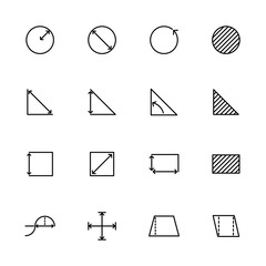 Line icon set basic mathematical measurement or metering