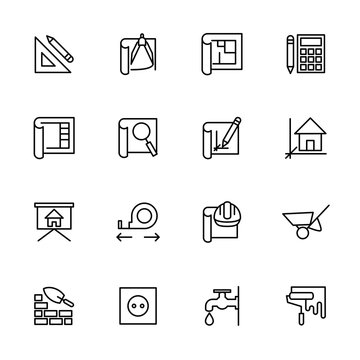 Line icon set of architect working step,