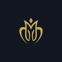 Luxury letter M logo design vector illustration