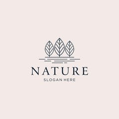 Three trees nature logo design vector illustration