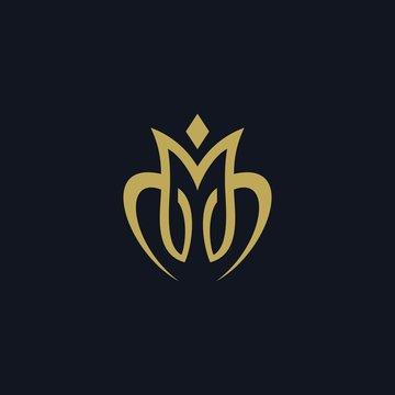 Luxury letter M logo design vector illustration