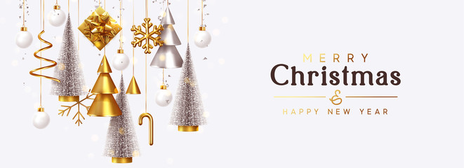 Fototapete - Christmas banner Background realistic festive gifts box. Christmas lush tree silver color. Xmas present. Horizontal New Year poster, greeting card, header for website. Gold and white decor ornaments