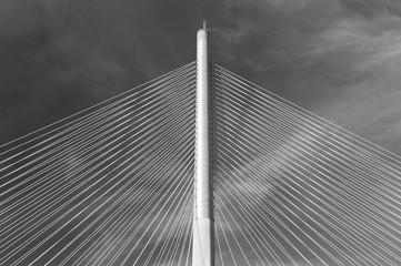 Fototapeta premium Lina i pylon nowoczesnego mostu wiszącego. Budynek streszczenie tło