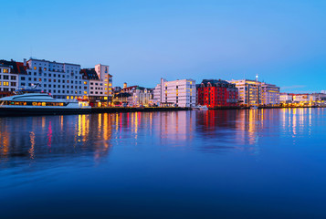 Wall Mural - View of harbour modern buildings in Bergen, Norway during the sunrise