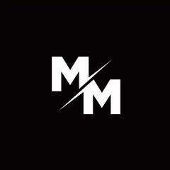 MM Logo Letter Monogram Slash with Modern logo designs template