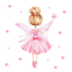 Cute cartoon fairy with magic wand and wings; watercolor hand draw illustration; with white isolated background