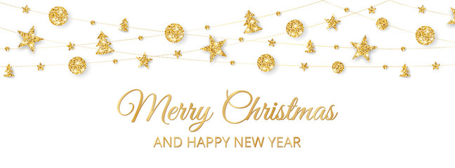Merry Christmas banner with gold decoration on white background