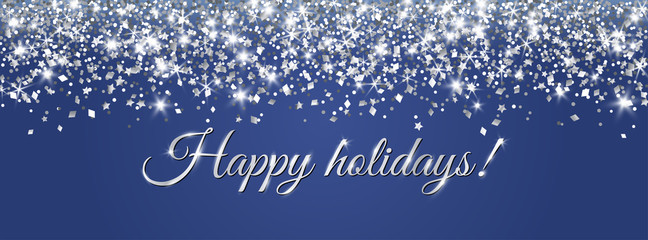 Wall Mural - Christmas banner with happy holidays text. Silver glitter decoration