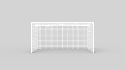 3d rendering of a football soccer goal isolated in studio background